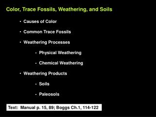 Color, Trace Fossils, Weathering, and Soils