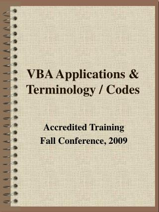 VBA Applications  Terminology