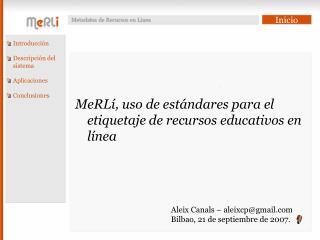 MeRL , uso de est ndares para el etiquetaje de recursos educativos en l nea
