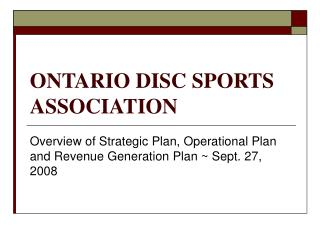 ONTARIO DISC SPORTS ASSOCIATION