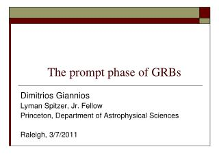The prompt phase of GRBs