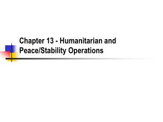 rian and Peace/Stability Operations