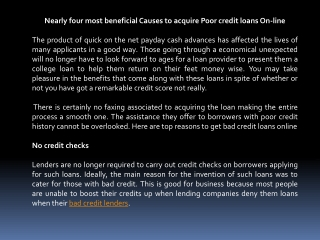 bad credit loan lenders online