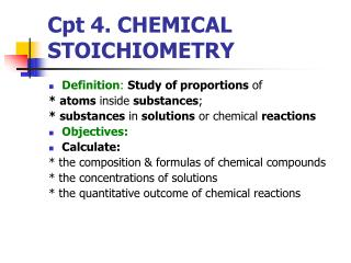 Cpt 4. CHEMICAL STOICHIOMETRY