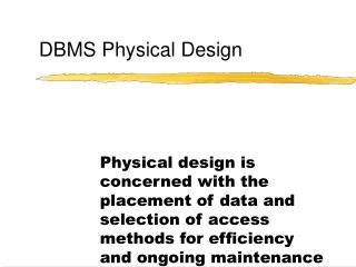 DBMS Physical Design