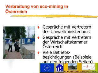 Verbreitung von eco-mining in  sterreich
