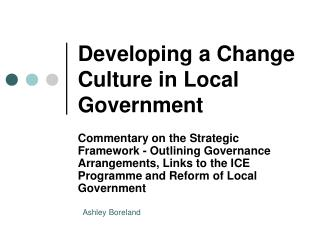 Developing a Change Culture in Local Government