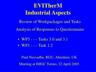 EVITherM Industrial Aspects