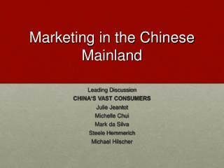 Marketing in the Chinese Mainland