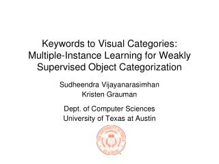 Keywords to Visual Categories: Multiple-Instance Learning for Weakly Supervised Object Categorization