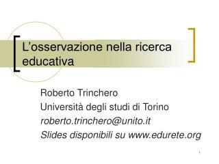 L osservazione nella ricerca educativa