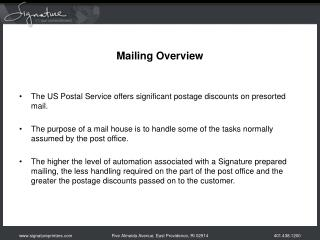 Mailing Overview