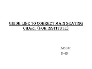 Guide line to Correct Main Seating Chart For Institute
