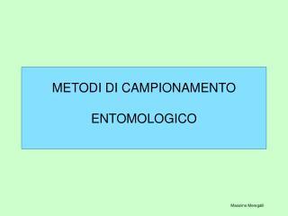 METODI DI CAMPIONAMENTO   ENTOMOLOGICO