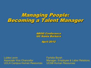 Managing People: Becoming a Talent Manager