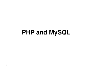 Database Access with  PHP and MySQL