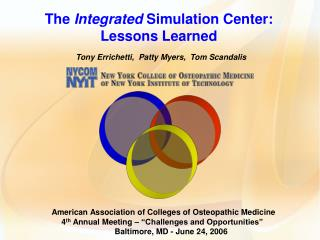 The Integrated Simulation Center: Lessons Learned  Tony Errichetti,  Patty Myers,  Tom Scandalis