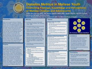 Diabetes Mellitus in Maltese Youth Examining Feelings, Knowledge and Perceptions of Maltese Children and Adolescents
