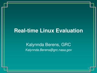 Real-time Linux Evaluation