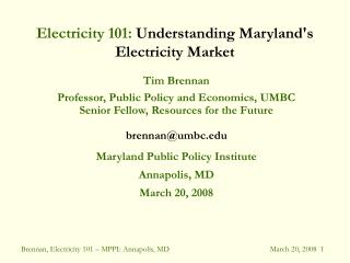 Electricity 101: Understanding Marylands Electricity Market