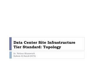 Data Center Site Infrastructure Tier Standard: Topology