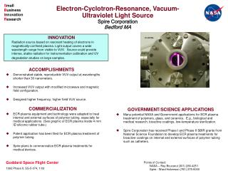 Electron-Cyclotron-Resonance, Vacuum-Ultraviolet Light Source Spire Corporation Bedford MA