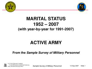 MARITAL STATUS 1952   2007 with year-by-year for 1991-2007   ACTIVE ARMY  From the Sample Survey of Military Personnel