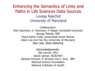 Enhancing the Semantics of Links and Paths in Life Sciences Data Sources