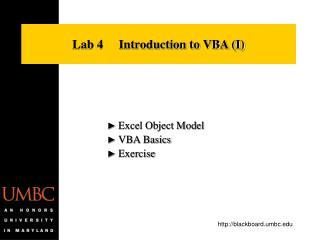 Lab 4     Introduction to VBA I