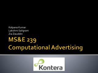 MSE 239 Computational Advertising
