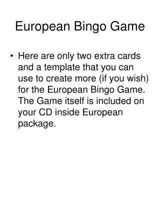 European Bingo Game