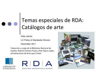 Temas especiales de RDA: Cat logos de arte