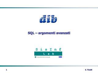 SQL   argomenti avanzati