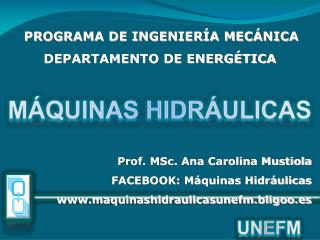Prof. MSc. Ana Carolina Mustiola FACEBOOK: M quinas Hidr ulicas maquinashidraulicasunefm.bligoo.es