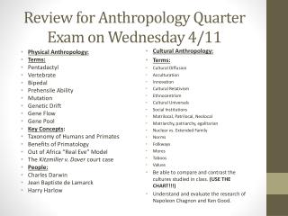 Review for Anthropology Quarter Exam on Wednesday 4