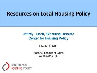 Resources on Local Housing Policy