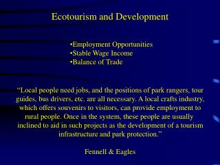 Ecotourism and Development