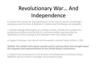 Revolutionary War  And Independence