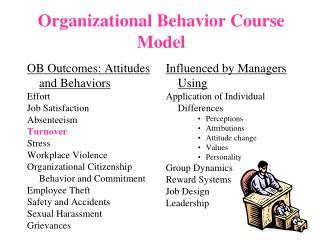 Organizational Behavior Course Model