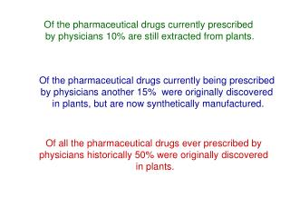 Of all the pharmaceutical drugs ever prescribed by  physicians historically 50 were originally discovered  in plants.