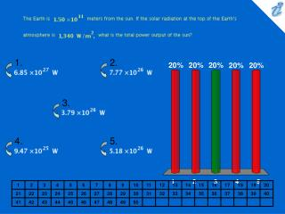 The Earth is {image} meters from the sun. If the solar radiation at the top of the Earths atmosphere is {image} what is