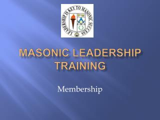 Masonic Leadership Training