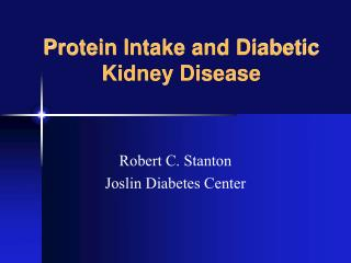 Protein Intake and Diabetic Kidney Disease