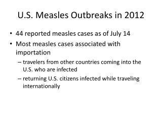 U.S. Measles Outbreaks in 2012