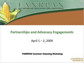 Partnerships and Advocacy Engagements   April 1   2, 2009