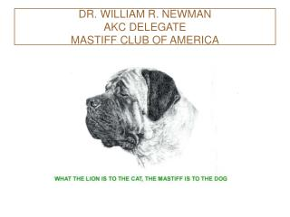 DR. WILLIAM R. NEWMAN AKC DELEGATE MASTIFF CLUB OF AMERICA