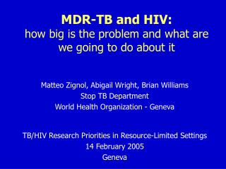 MDR-TB and HIV:  how big is the problem and what are we going to do about it