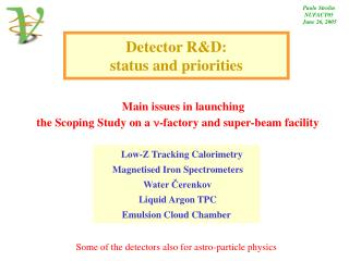 Detector RD:  status and priorities