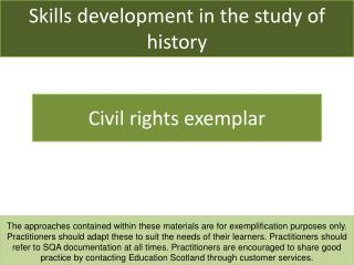 Skills development in the study of history
