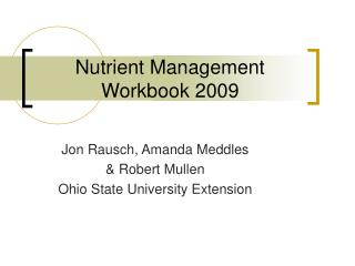 Nutrient Management Workbook 2009